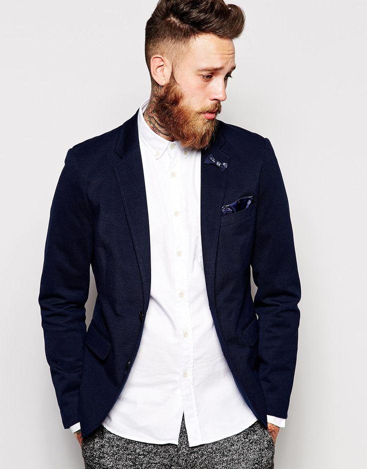 Selected Pique Blazer In Skinny Fit