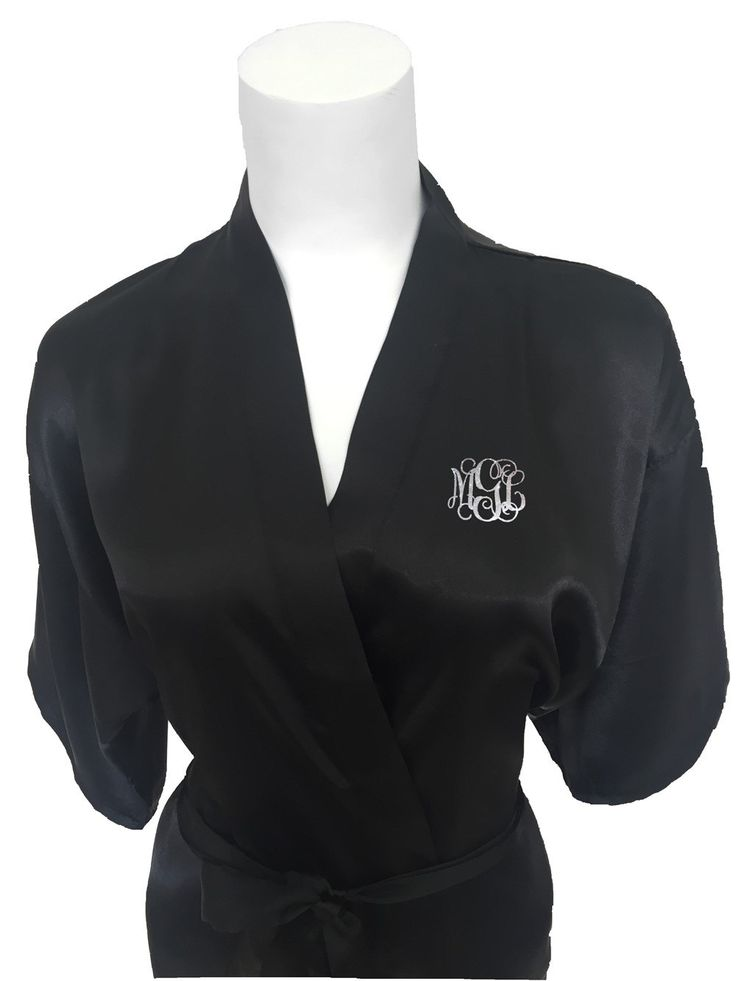 Black Bridal Party Robe...Monogram Maid of Honour Robe...Bridal Robe...Getting Ready Robe...Wedding Robes...Bridal Satin Robe... by BridalDelightsAus on Etsy