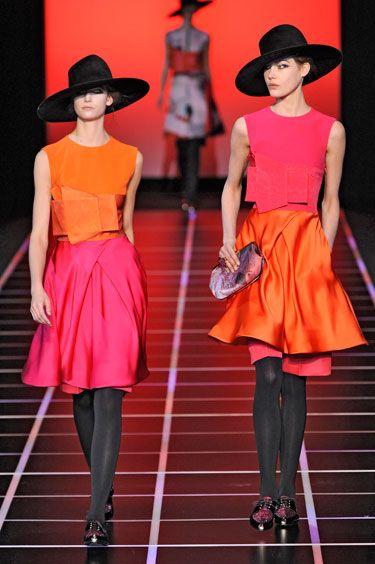 Giorgio Armani Fall 2012: Armani Fall, 2012 Mojo Fashion, Pink Skirts, Fall 2012, Weeks Fall, Fashion Obsession, Giorgio Armani, Milan Fashion Weeks, Orange Pink