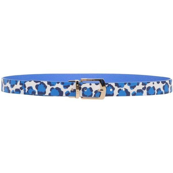 Liu •jo Belt (1,045 EGP) ❤ liked on Polyvore featuring accessories, belts, blue, leopard print belts, buckle belt, blue belt, reversible belt and logo belts