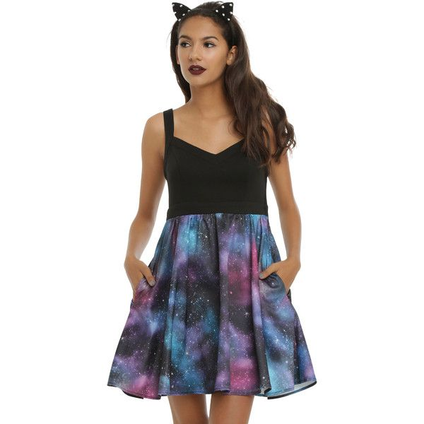 Hot Topic Galaxy Skater Dress (£21) ❤ liked on Polyvore featuring dresses, nebula dress, space print dress, v-neck skater dresses, galaxy dress and fit and flare skater dress