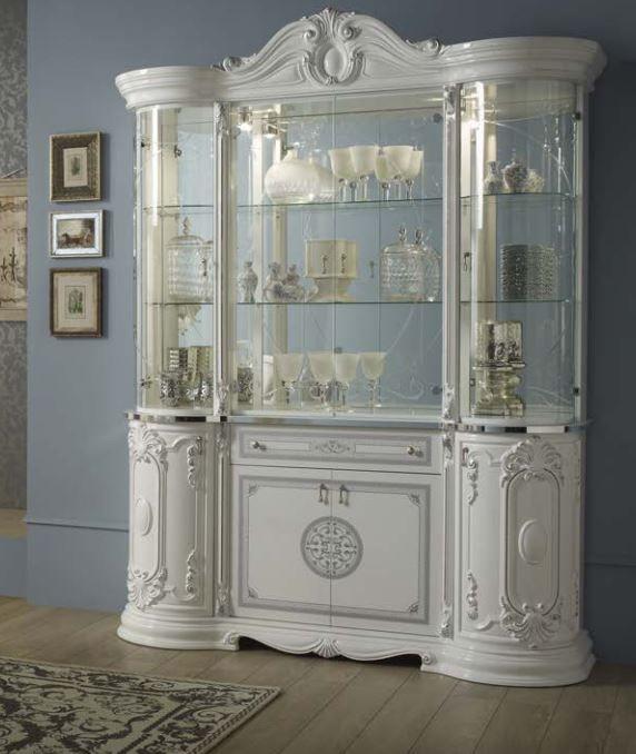 Geena White High Gloss Italian Made 4 Door Display Cabinet