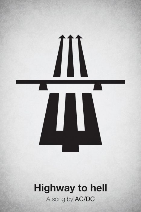 """PICTOGRAM MUSIC POSTERS: """"Highway to Hell"""" A song by AC/DC created by @Viktor Hertz via @Behance Team #music"""