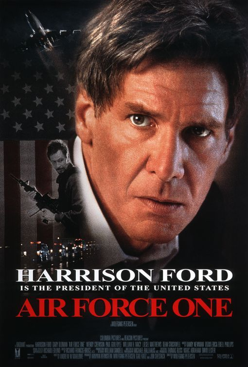 Harrison Ford plays a onetime combat hero in the Vietnam War who is now President of the United States. While visiting the former Soviet Union, he gives a speech in which he supports a get-tough attitude against terrorists. While flying back to the United States aboard Air Force One, the president and his staff discover that one of the journalists returning with them is actually a terrorist who hijacks the plane.