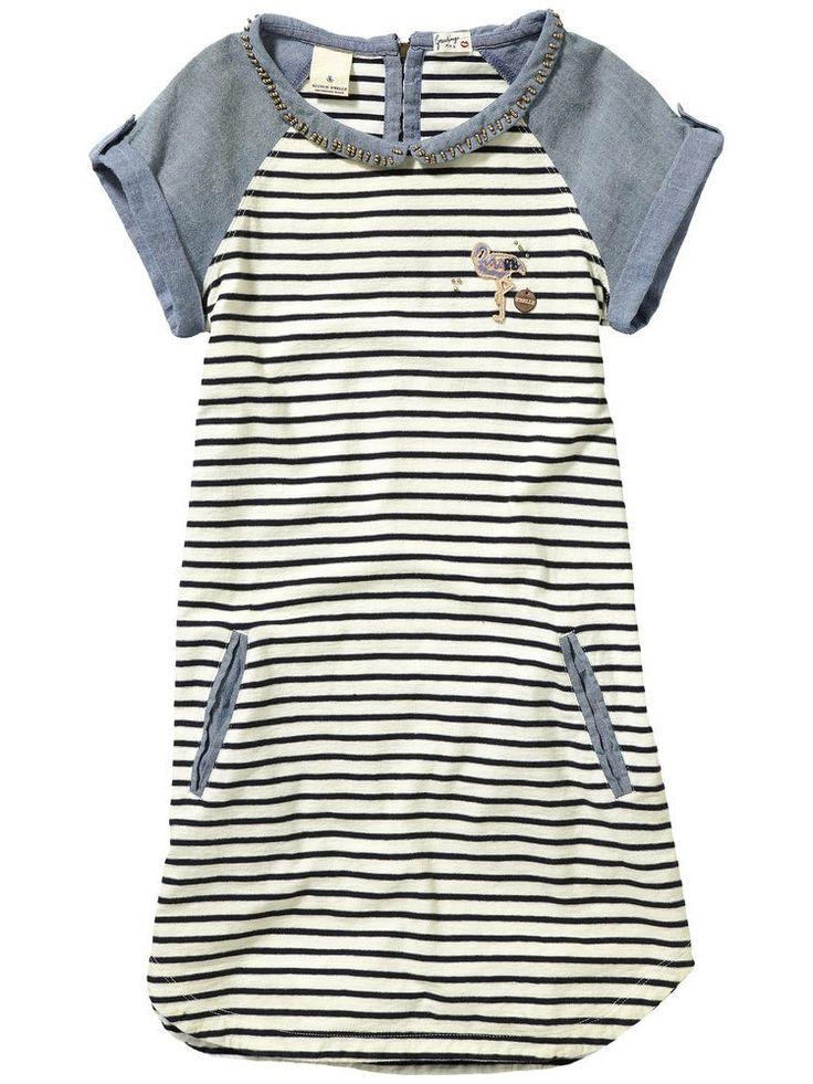 Short Sleeve Striped Cream/navy Denim Dress 88493