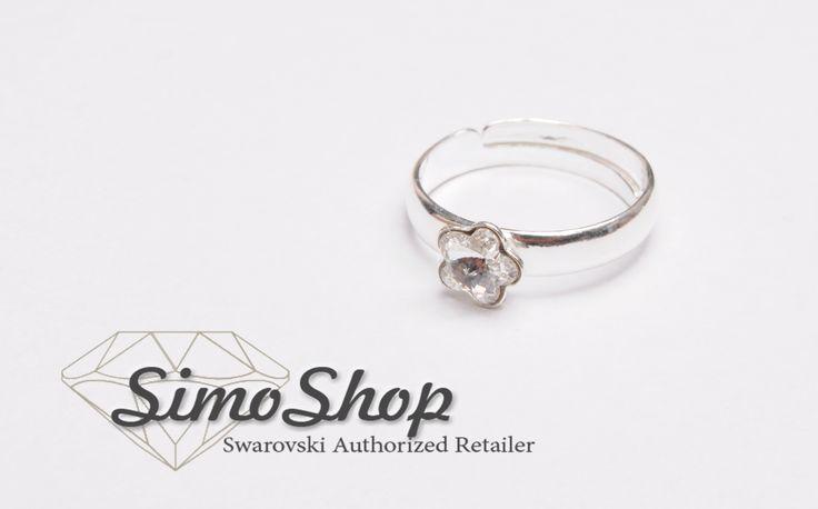 Inel cu cristal Swarovski floricica și tijă reglabilă din argint 925. #simoshop #argint #swarovski #inel