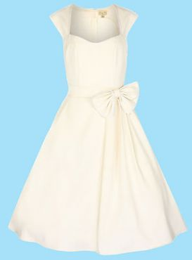 LINDY BOP 'GRACE' VINTAGE 1950's ROCKABILLY STYLE IVORY BOW SWING / BRIDESMAID DRESS