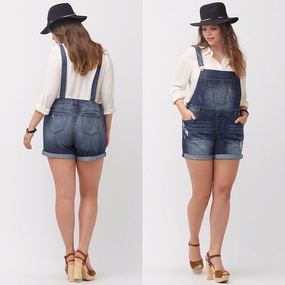 """✨HP Lane Bryant Denim Overall Shorts Plus Sizes ~Highly Rated 5-Star~ Brand New WITH Tags! ⛔️No Lowballing! ✅Reasonable Offers. Plus Sizes 18-20-22-28 Laidback short overalls make sunny day style a breeze with any tee or tank. Faded & distressed denim & a relaxed boyfriend fit make it an easy favorite. Six pockets and rolled cuffs. Adjustable suspenders and side button closure.  **Can Be worn NUMEROUS ways, I personally wear mine unstrapped/suspenders hanging**  Inseam 8"""" Lane Bryant Shorts"""