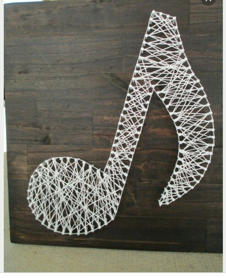 String Art Music Note Nail and String