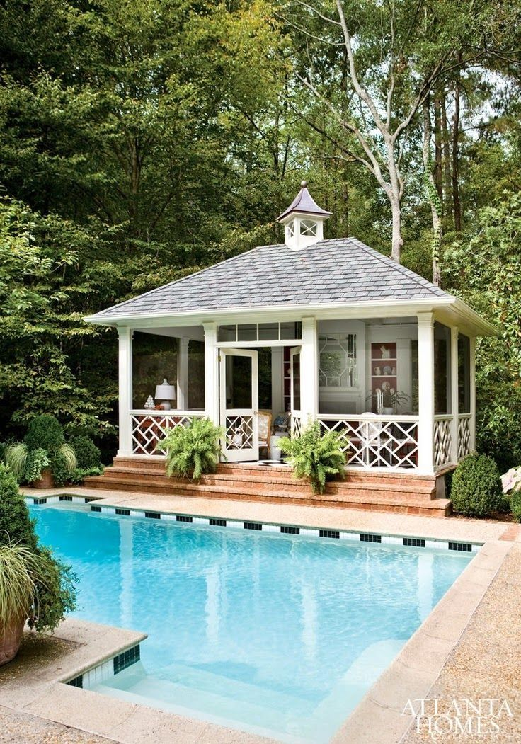Pool And Pool House Ideas 20 of the most gorgeous pool houses weve ever seen Charming Cottage Style Poolside With Wrap Around Porch Screened Poolpool Shedpool House