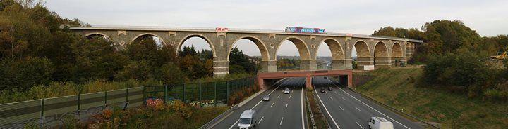 Bahrebachmühlen viadukt on the A4 near Chemnitz, Germany