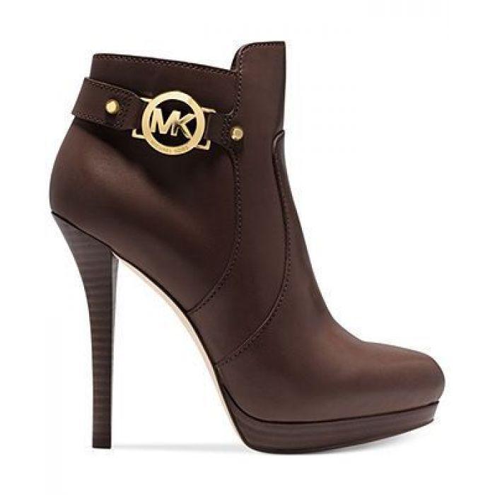 MICHAEL KORS Wyatt Logo Leather Ankle Boot