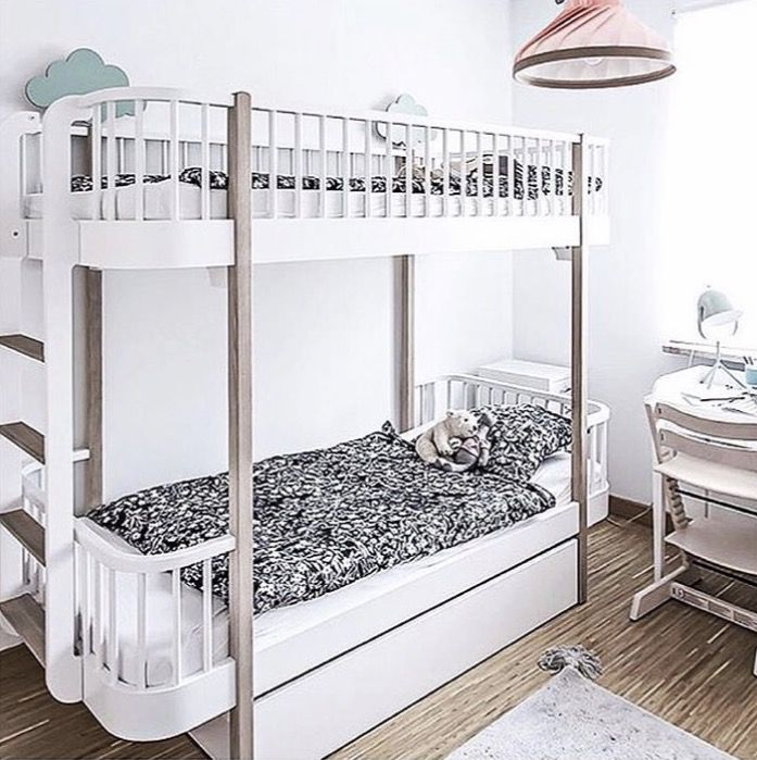 Luxury Wood Bunk Beds with End Ladder in Oak by Oliver Furniture