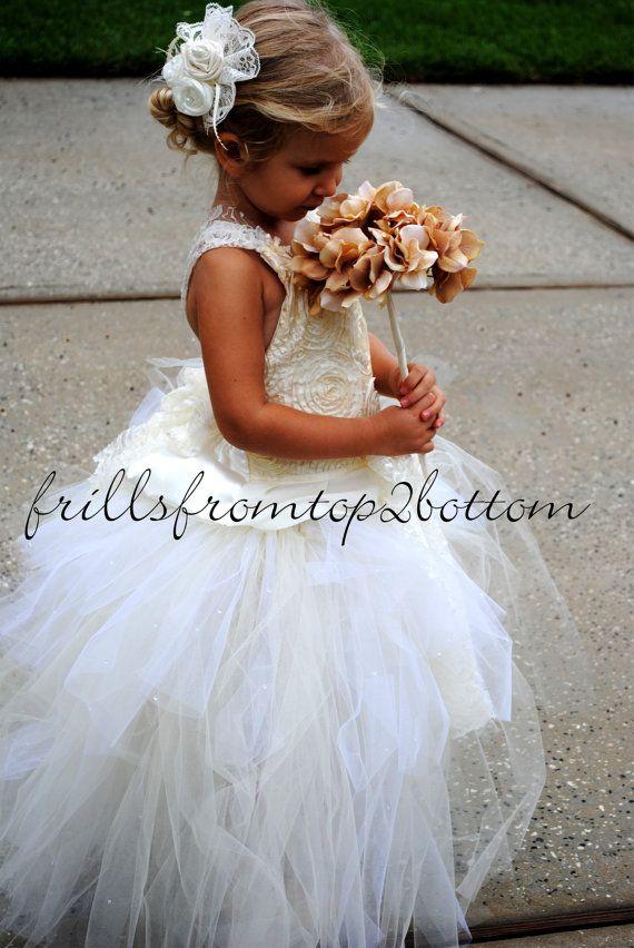 Ivory Flowergirl Dress  Tutu Skirt  Halter by frillsfromtop2bottom, $90.00