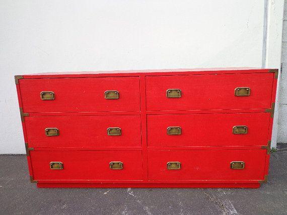 Super Rad Red Campaign Dresser / Bureau by DejaVuDecors on Etsy, $599.00  #munire #pinparty #MadeinUSA