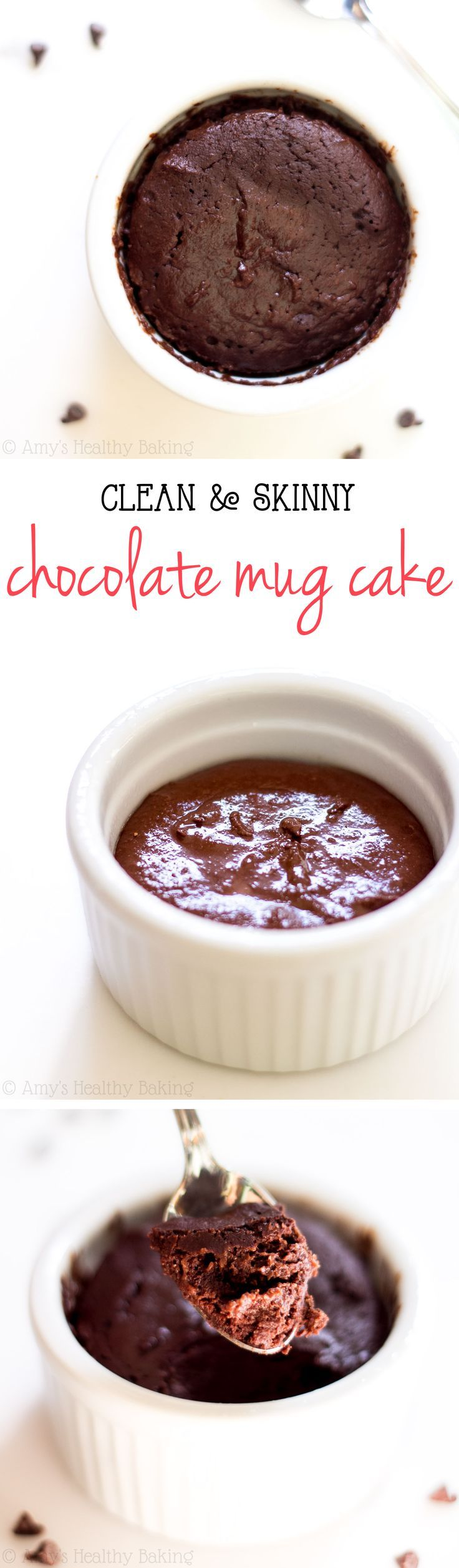 Skinny Single-Serving Chocolate Mug Cake -- a decadent recipe that's practically healthy enough for breakfast & ready in just 10 minutes! Barely 140 calories + 6g of protein!