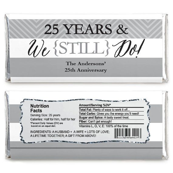 We Still Do - 25th Anniversary Candy Bar Wrappers are a fun - and delicious - way to celebrate your guest of honor. They make a perfectly themed addition to your candy buffet table and can personalized with three lines of text. Whether your party guests will enjoy their sweet treats at the party or tuck them away for later, you can bet they will be loved by all. Candy bar wrappers are perfect for anniversary parties. The nutrition facts are specialized for each different event so be sure to…