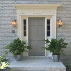 New house exterior color scheme. Sherwin Williams Gray Screen (Brick) and Ear Grey (door). A grey that doesn't look blue