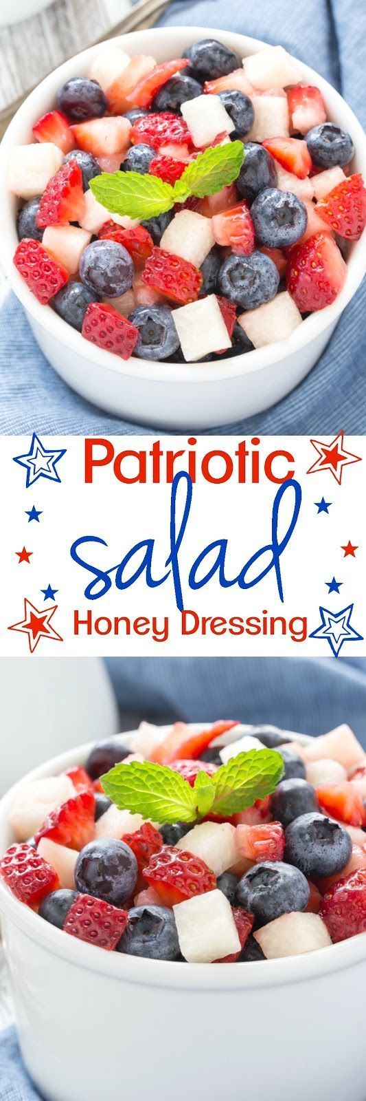Let's hear it for the red, white and blue with this fresh salad drizzled with honey poppy seed dressing! It's worthy of any celebration!