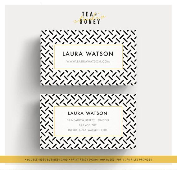 Modern Business Card Zig Zag Pattern Name Calling Card Clean