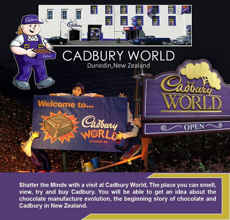Cadbury World - #Dunedin (New Zealand) __________________________________ Shatter the Minds with a visit at #Cadbury #World, The place you can #smell, view, try and #buy Cadbury. You will be able to get an idea about the #chocolate manufacture evolution, the beginning #story of chocolate and Cadbury in New Zealand.  #cadburyworld #cadburyworlddunedin #cadburynewzealand #kiwitravel #travel