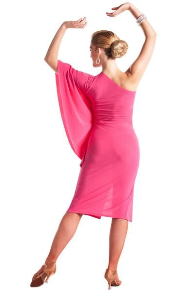 This lovely dress features one shoulder half sleeve and sexy front split. Perfect for a Bolero or Rumba dance performance. Model is wearing size XS/S.