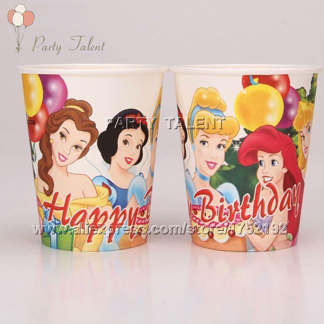 Ну вечеринку поставляет 20 шт. дети девушки три принцесса тема ну вечеринку украшения одноразовая посуда разовые бумажные стаканчики чашка