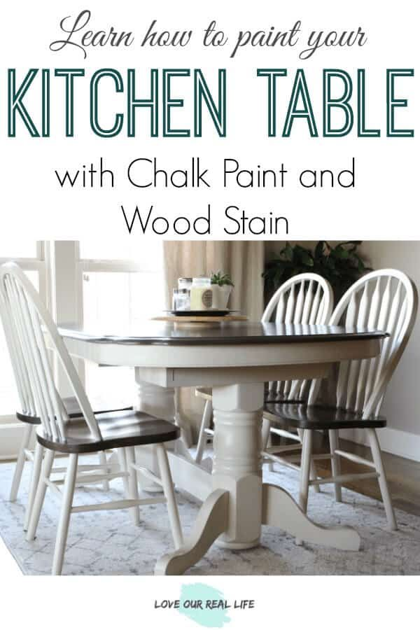 Kitchen Table Makeover Using Chalk Paint And Wood Stain Love Our Real Life Painted Kitchen Tables Chalk Paint Kitchen Table Kitchen Table Makeover