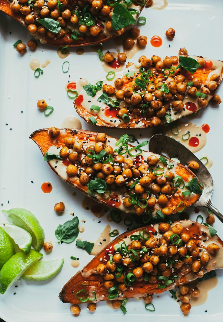 Stuffed + Sauced Sweet Potatoes with Ginger Lime Tahini by 'Minimalist Baker's'