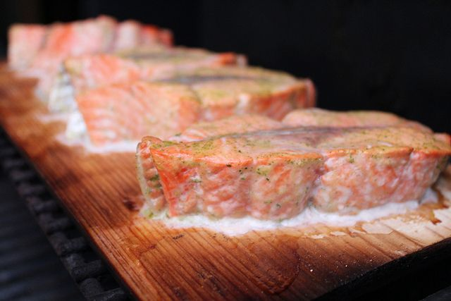 Cedar-Planked Salmon With Mustard Dill Sauce recipe - Foodista.com