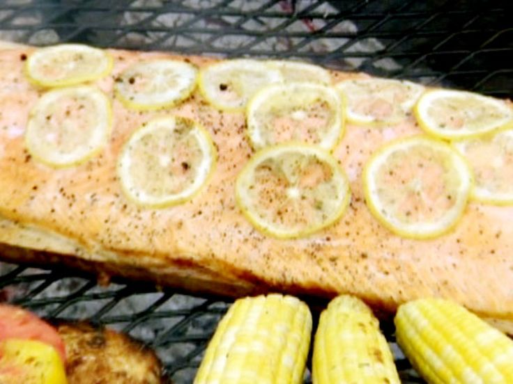 Cedar Plank-Grilled Salmon with Cilantro Pesto recipe from BBQ with Bobby Flay via Food Network