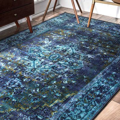 World Menagerie Loch Blue Area Rug & Reviews | Wayfair 5' round $65