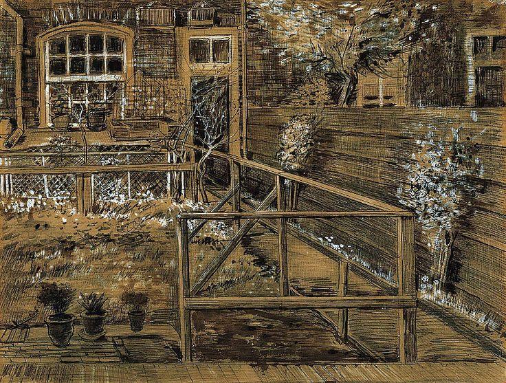Сад на заднем дворе дома матери Винсента в Гааге. Винсент Ван Гог.                           Музей искусств Нортона Саймона, Пасадена (Norton Simon museum of Art, Pasadena). 1882