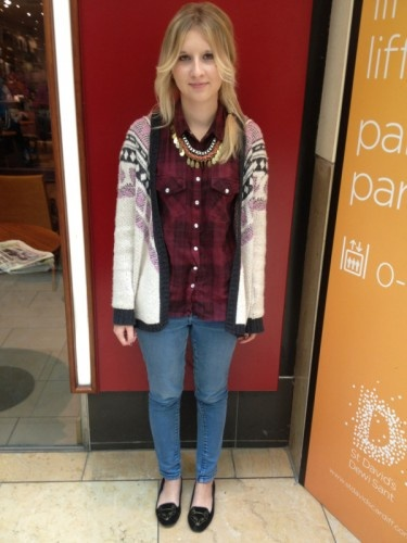 Elinor Sprague in a mix of Topshop and Pull & Bear in Costa, St David's centre #streetfashionweek