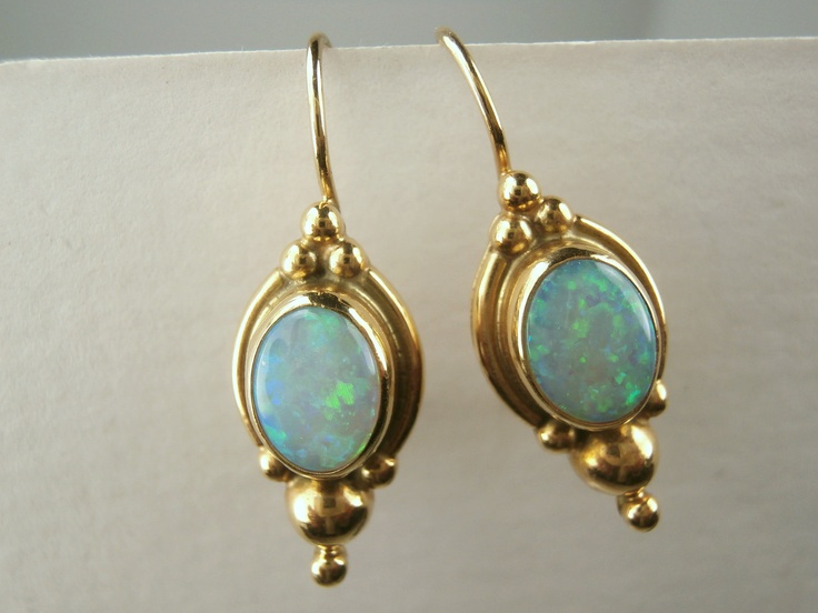 Vintage Opal and 14k Gold Earrings