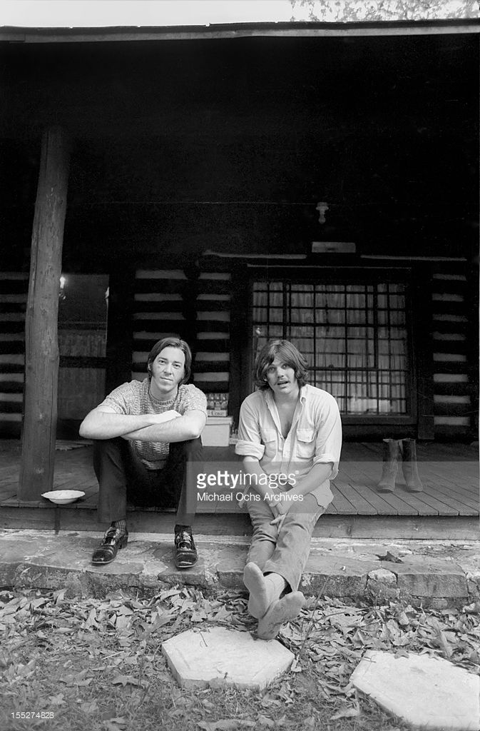 Boz Scaggs (left) takes a break from recording his second album (recorded at the Muscle Shoals Sound Studio) with producer (and 'Rolling Stone Magazine' founder) Jann Wenner at Otis Redding's ranch on May 5, 1969 near Macon, Georgia.