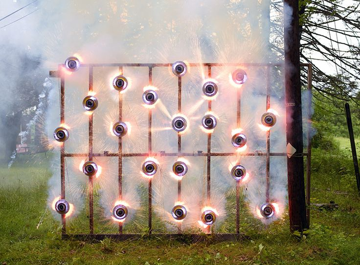 The Art of Smoke Bombs and Fireworks by Olaf Breuning fireworks ie Catherine Wheels!