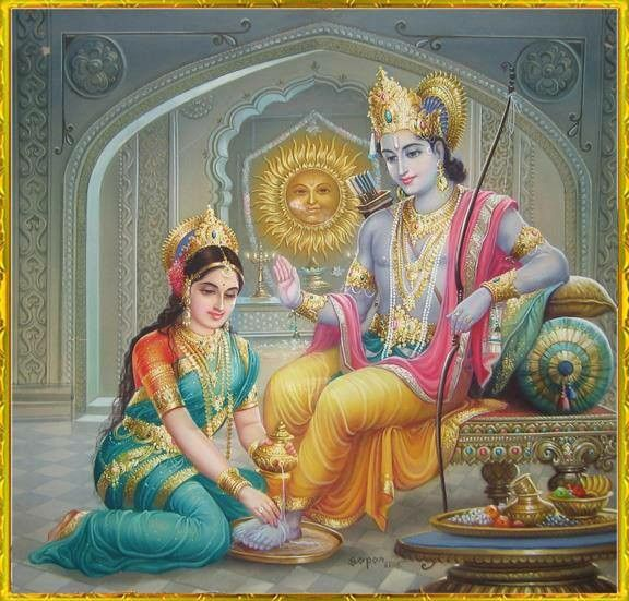 Sita wash her husband Ram feet