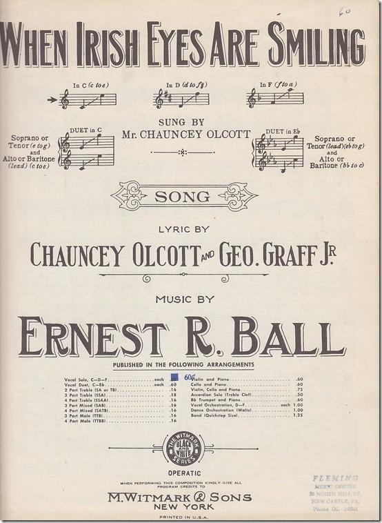 Vintage Irish Themed Sheet Music.