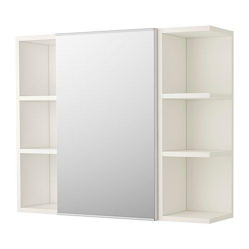 LILLÅNGEN Mirror cabinet 1 door/2 end units, white white 31 1/2x8 1/4x25 1/4 ...mirror with storage behind plus two open shelves