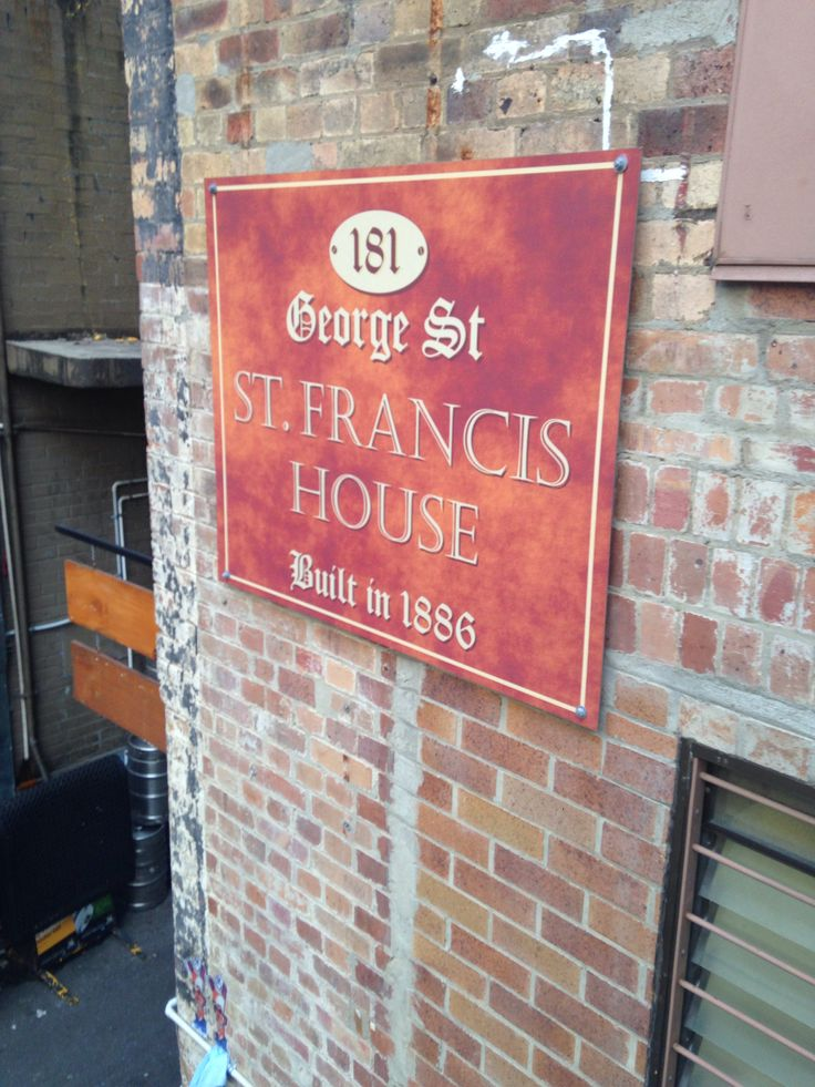 Original signage for St Francis House 181 George Street.