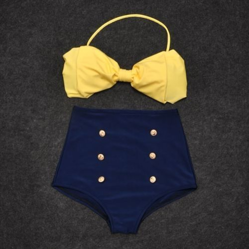 Vintage Retro Pin Up High Waisted Bikini Bow Top Bottom Swimsuit Blue Yellow