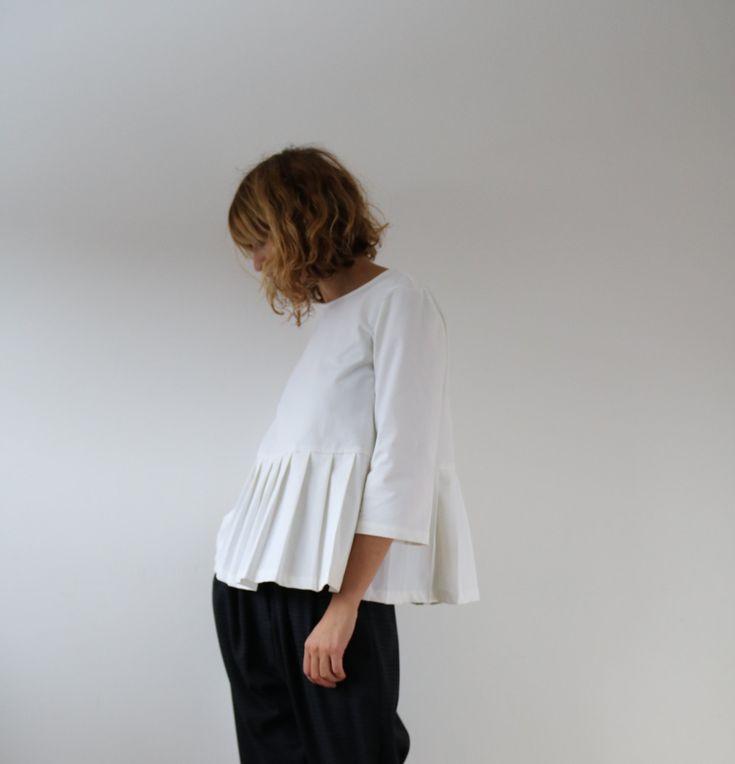 White Denim Blouse - Women Blouse - Denim Blouse - Handmade by OFFON by OffOn on Etsy