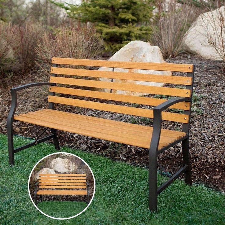 Durable Comfortable Park Bench Garden Patio Home Furniture Brown Modern Loveseat #DurableComfortableParkBench