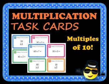 Engage your students in multiplication practice with this set of 28 task cards. Students can use multiple strategies to solve two digit multiples of 10 times a single digit.This task card set is really like purchasing multiple activities, because task cards are one of the most versatile activities in today's classrooms.