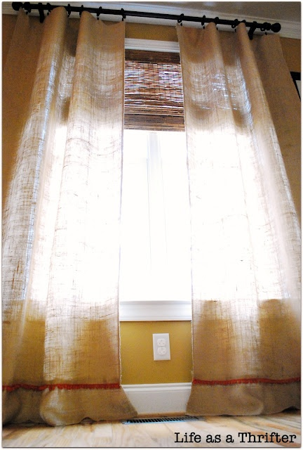 Easy burlap curtains, over bamboo blinds.