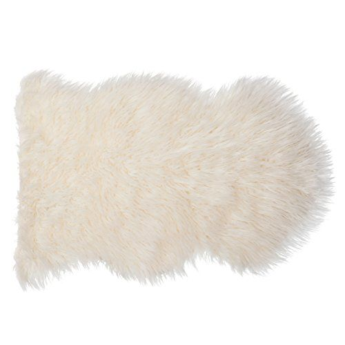 SLPR Home Collection Faux Fur Ivory/White Sheepskin Rug - Like Real - Single Pelt (2' x 3')