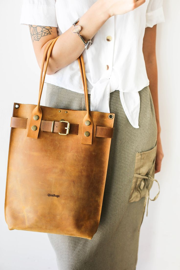 Brown Vintage Leather Tote