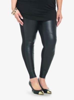 Faux Leather Panel Leggings