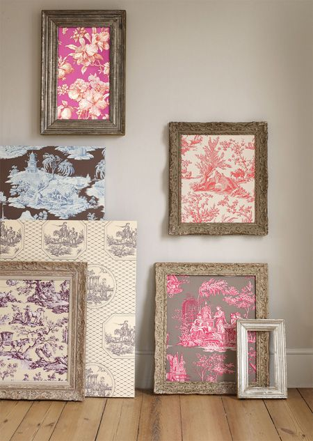 Here's a neat idea for using leftover fabric by Manuel Canovas. Cover a few inexpensive picture frames with decorative fabric for an instant work of art.